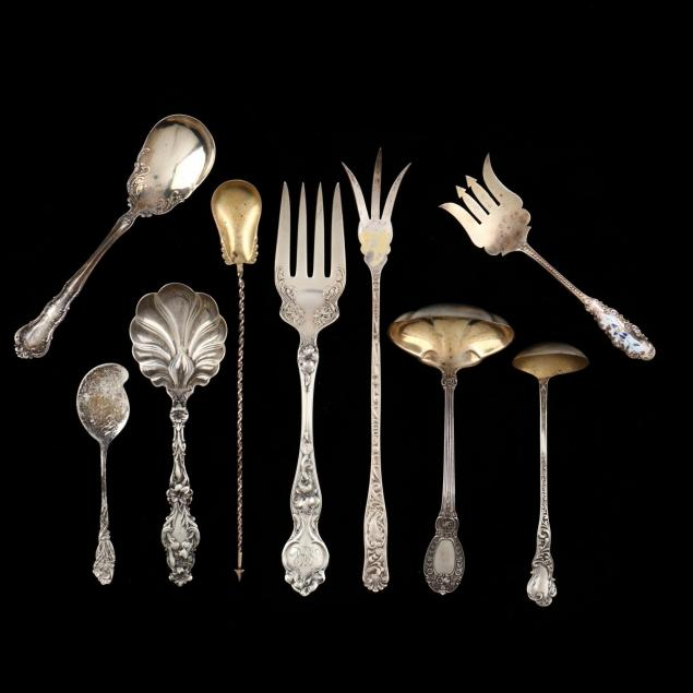 nine-art-nouveau-sterling-silver-servers
