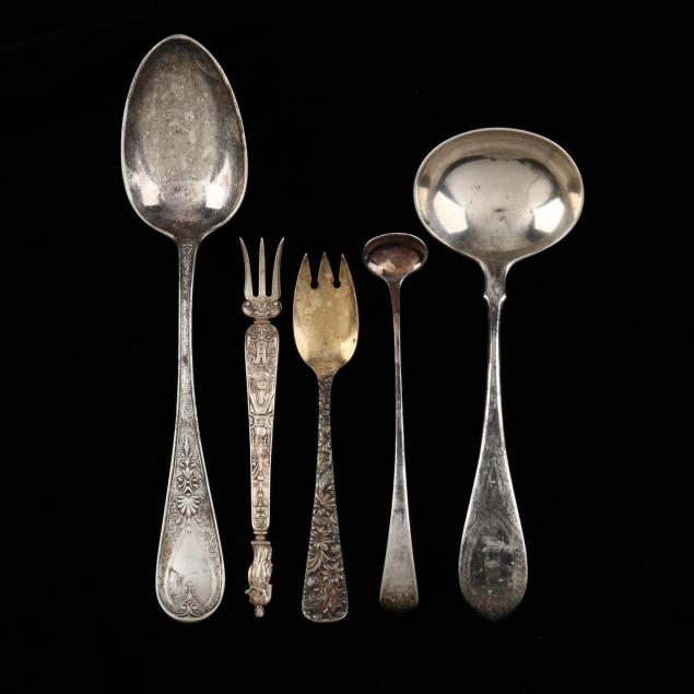 five-antique-sterling-silver-servers