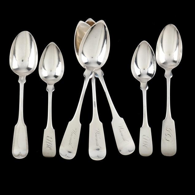 seven-charleston-sc-coin-silver-spoons-mark-of-j-e-spear
