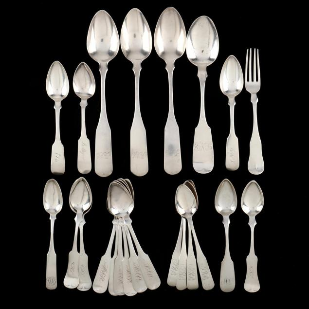 a-group-of-american-coin-silver-flatware