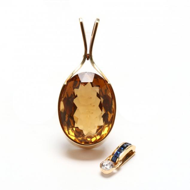 two-14kt-gold-gem-set-pendants-signed