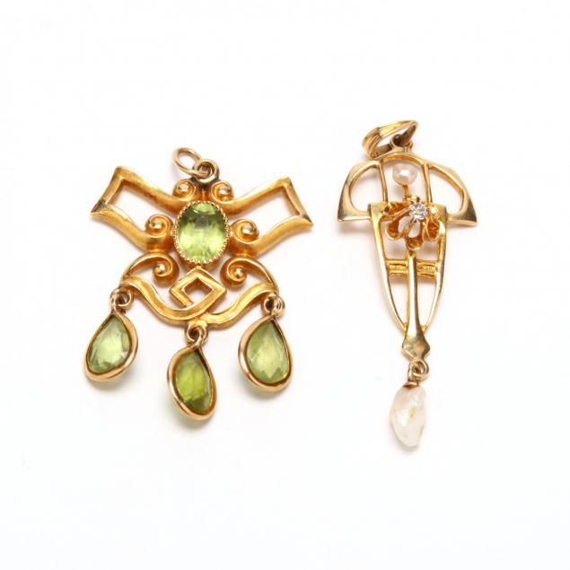 two-gem-set-14kt-gold-lavalier-pendants