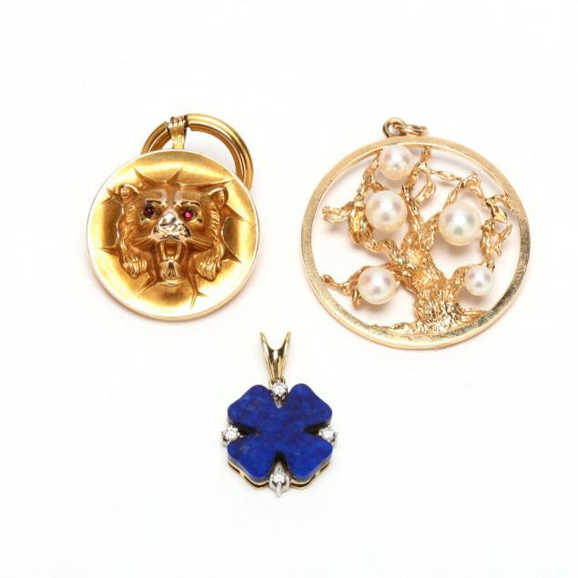 three-14kt-gold-pendants