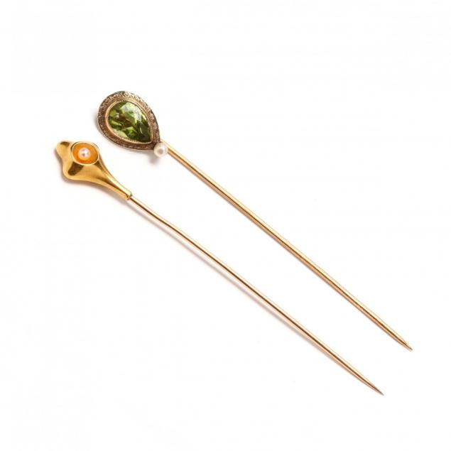 two-14kt-gold-stick-pins
