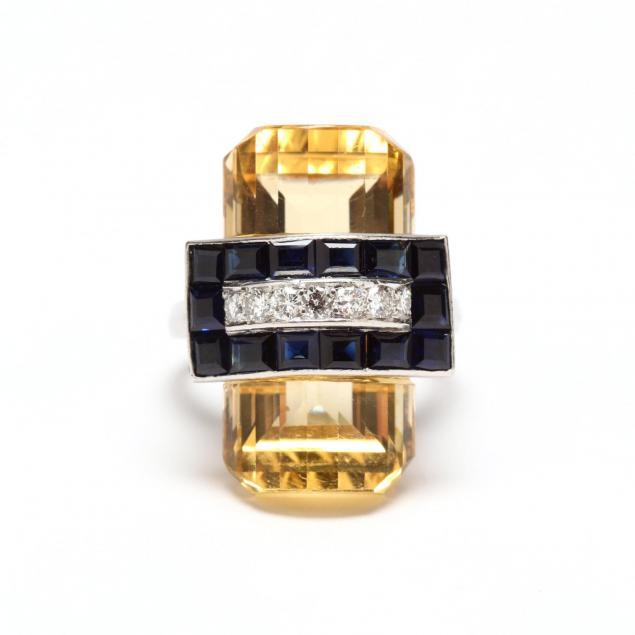 retro-citrine-sapphire-and-diamond-ring