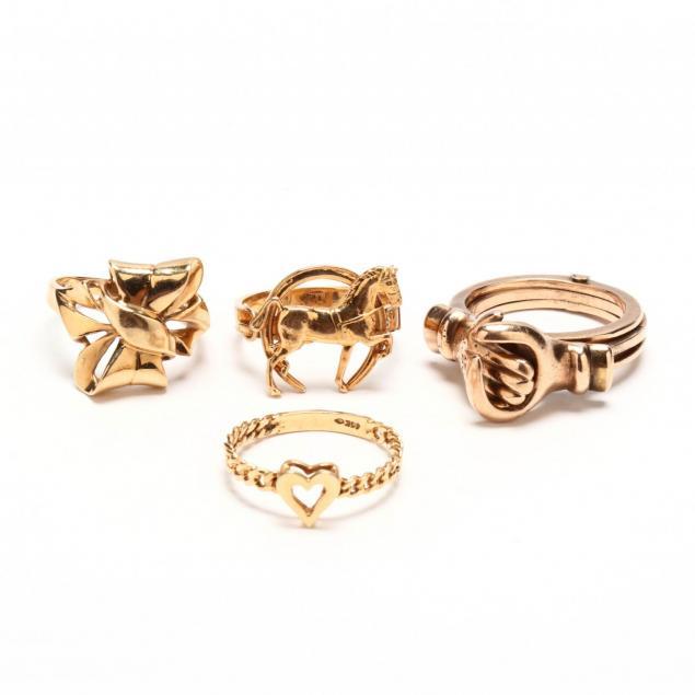 four-14kt-gold-rings