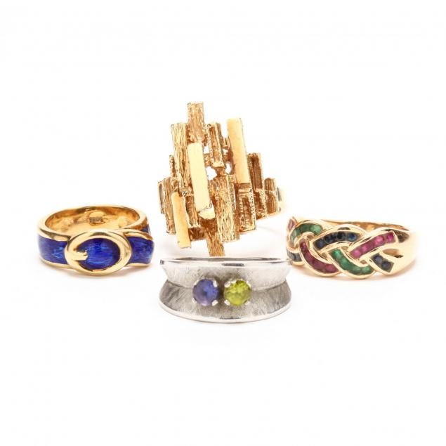 four-14kt-gold-rings