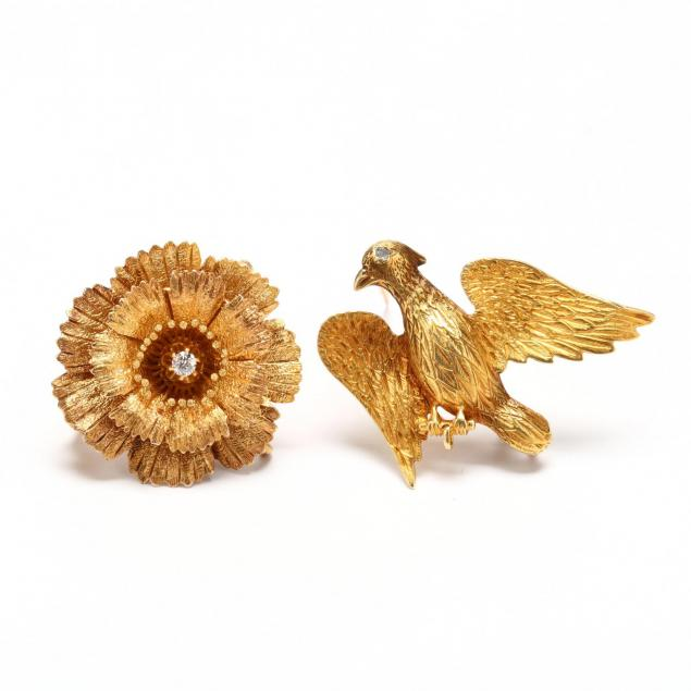 two-gold-brooches