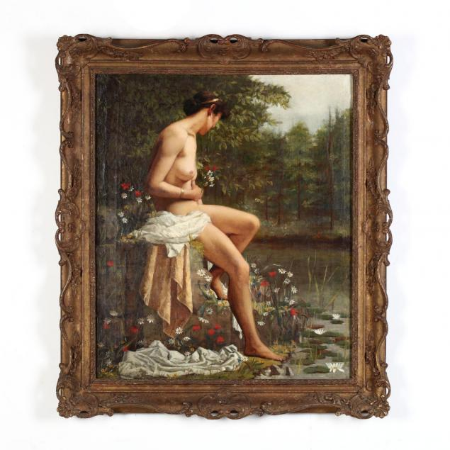 manner-of-john-william-waterhouse-british-1849-1917-seated-nude-by-a-stream