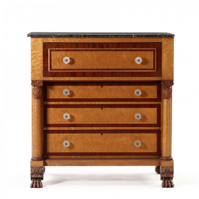 american-classical-birdseye-maple-marble-top-chest-of-drawers