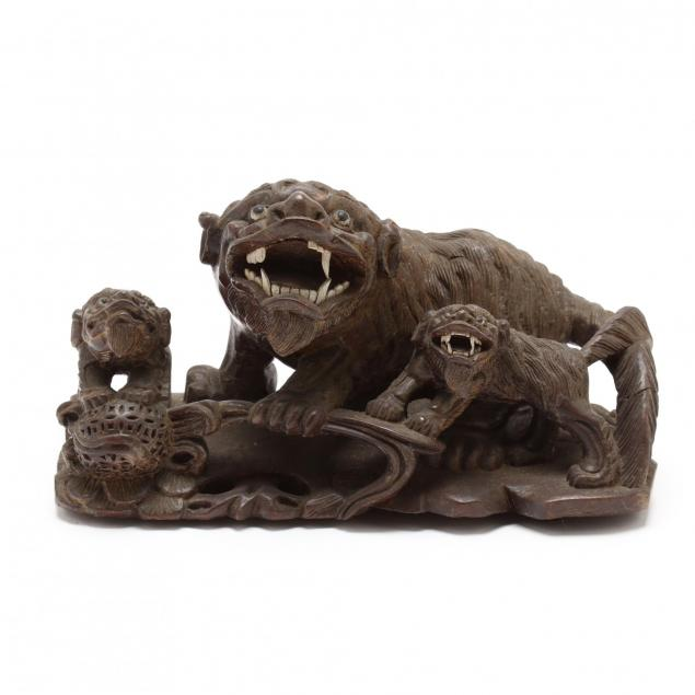 a-chinese-carved-wooden-foo-dogs-with-two-pups