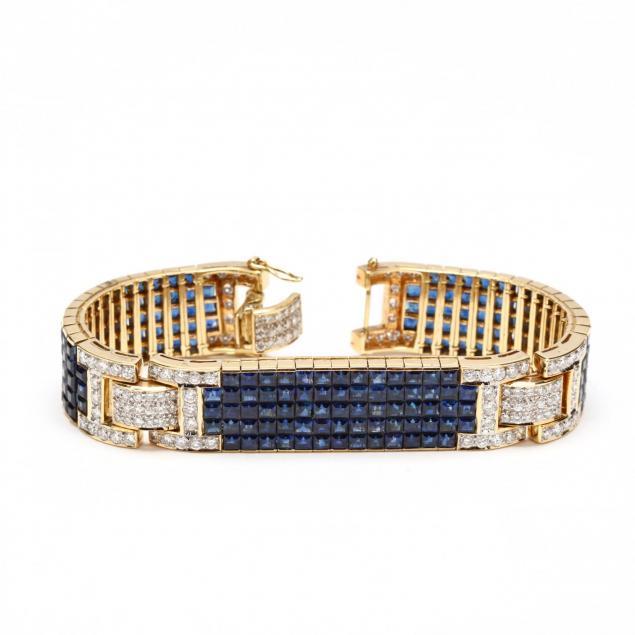 18kt-gold-sapphire-and-diamond-bracelet