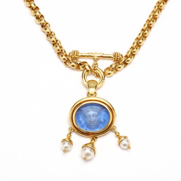 18kt-necklace-with-intaglio-and-pearl-pendant-brooch-elizabeth-locke