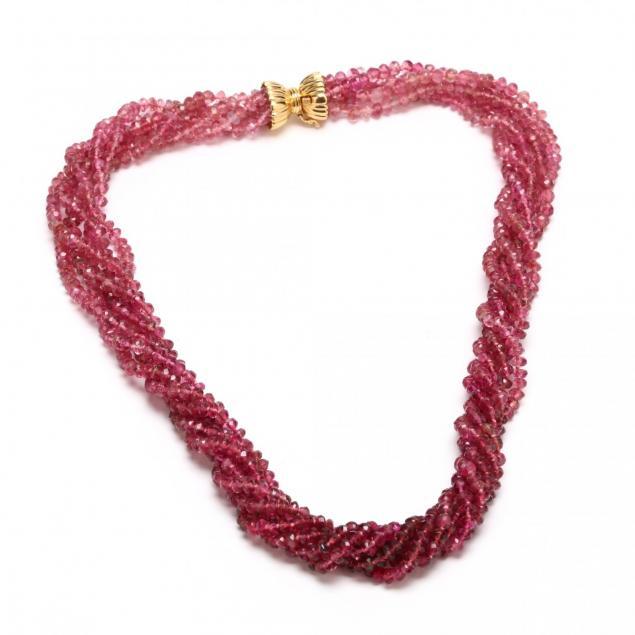 18kt-multi-strand-pink-tourmaline-necklace-signed