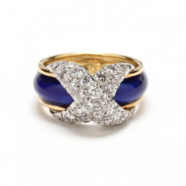 18kt-gold-diamond-and-enamel-x-ring-schlumberger-for-tiffany-co