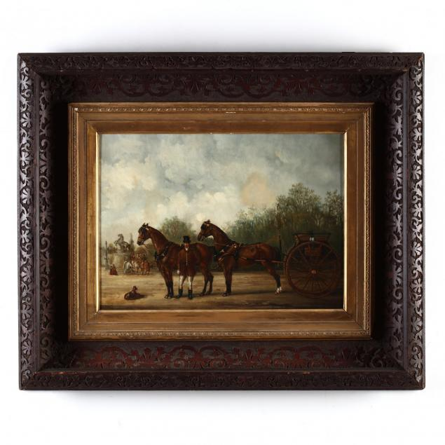 an-antique-english-school-painting-of-a-dogcart