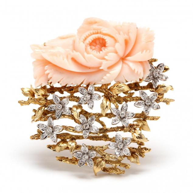 14kt-gold-coral-and-diamond-brooch