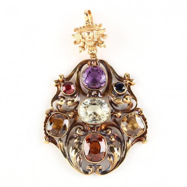 antique-gold-and-gem-set-pendant