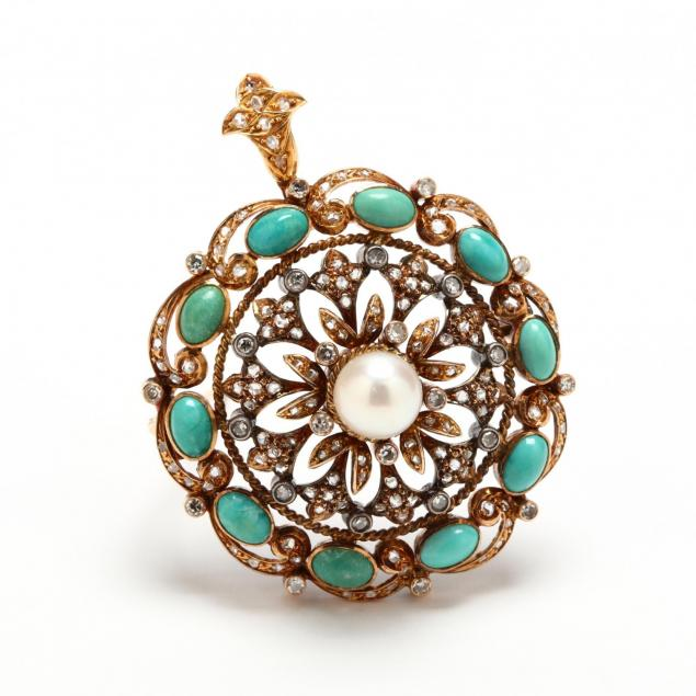 antique-diamond-pearl-and-turquoise-brooch-pendant