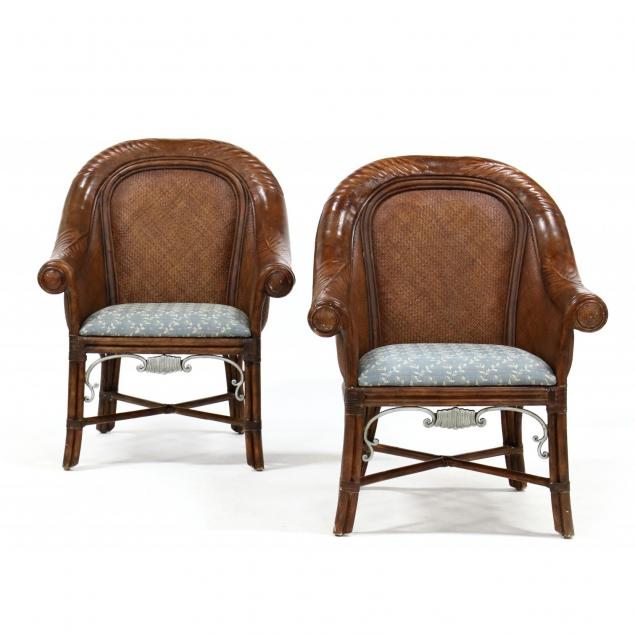 pair-of-contemporary-rattan-style-arm-chairs