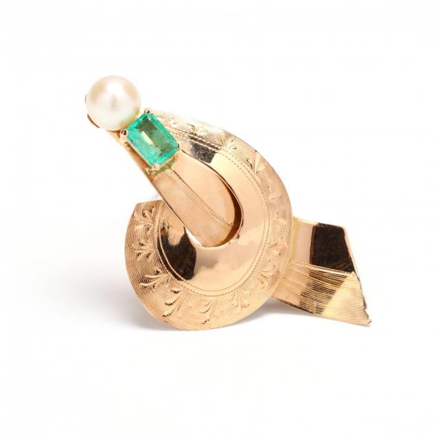 18kt-gold-emerald-and-pearl-brooch-italy
