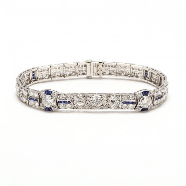 art-deco-platinum-diamond-and-sapphire-bracelet