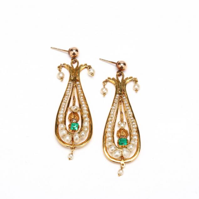 18kt-gold-emerald-and-seed-pearl-pendant-earrings