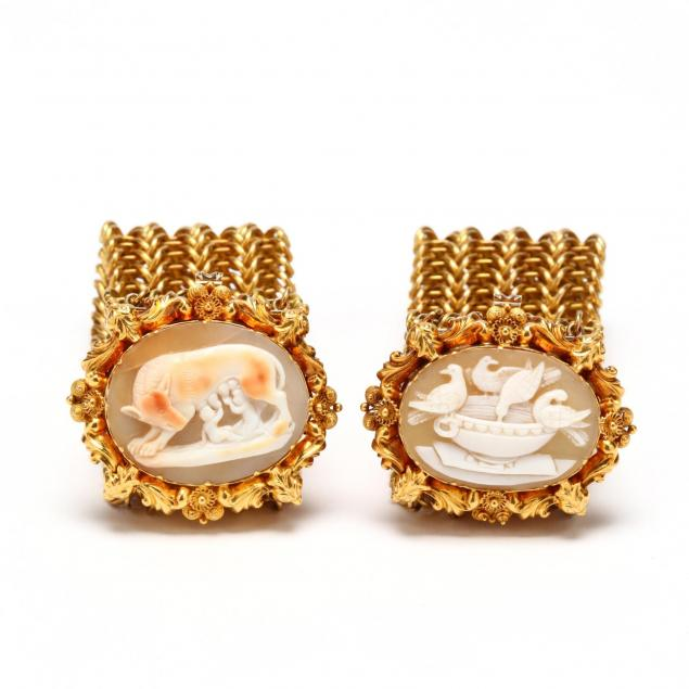 pair-of-antique-gold-filled-and-cameo-bracelets