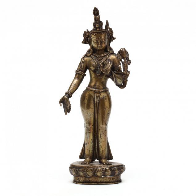 a-nepalese-bronze-sculpture-of-green-tara