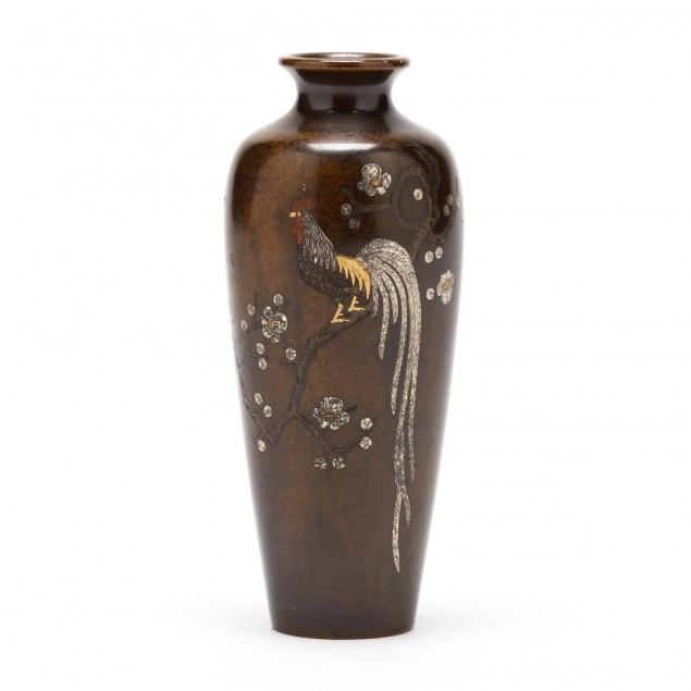 a-japanese-inlaid-bronze-vase-with-rooster-by-nogawa-noboru