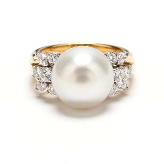 18kt-gold-pearl-and-diamond-ring-signed