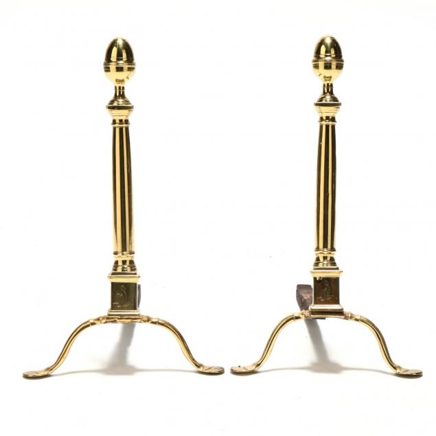 pair-of-federal-brass-penny-foot-andirons