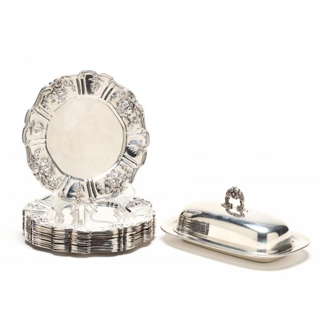 set-of-12-reed-barton-francis-i-sterling-silver-bread-plates-butter-dish