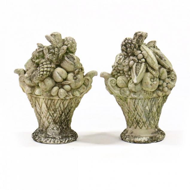 pair-of-vintage-cast-stone-fruit-baskets