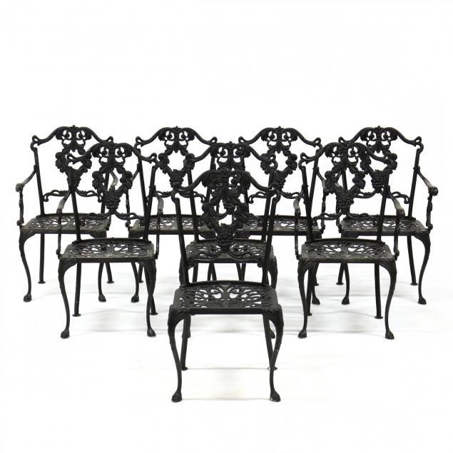 set-of-eight-cast-aluminum-garden-chairs