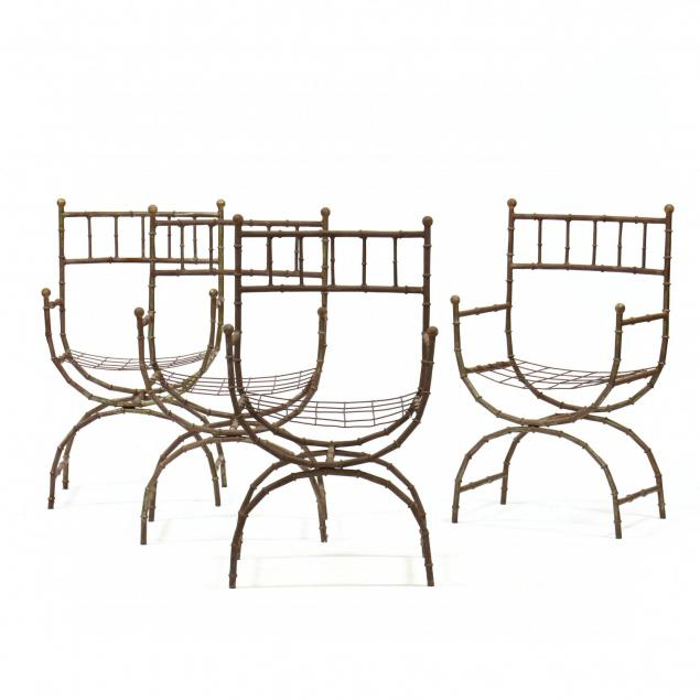 set-of-four-cast-aluminum-faux-bamboo-curule-form-chairs