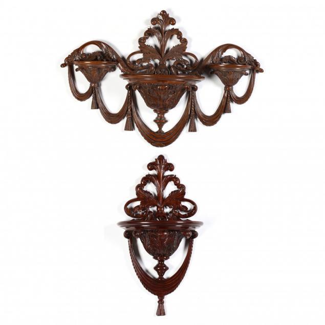 maitland-smith-two-carved-mahogany-wall-brackets