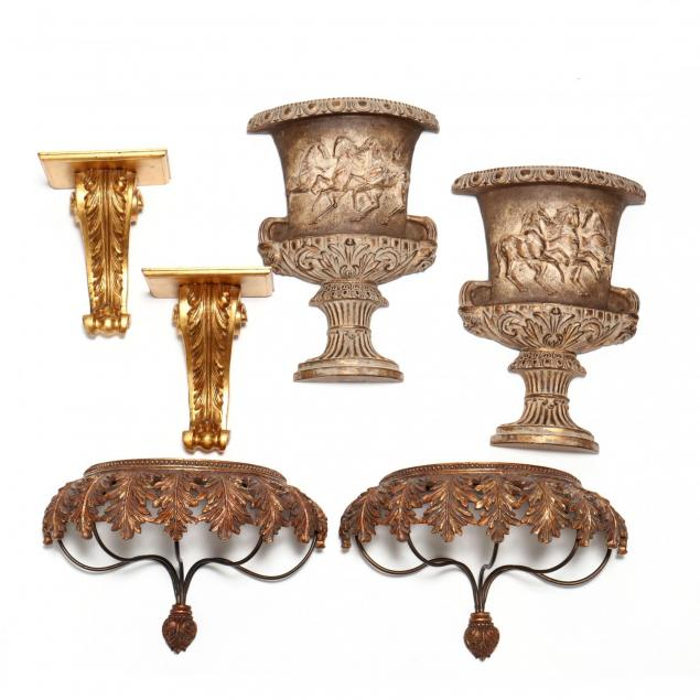 six-contemporary-gilt-classical-style-wall-appliques