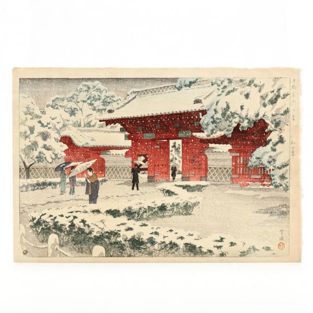 i-red-gate-at-hongo-in-snow-i-by-shiro-kasamatsu-japanese-1898-1992