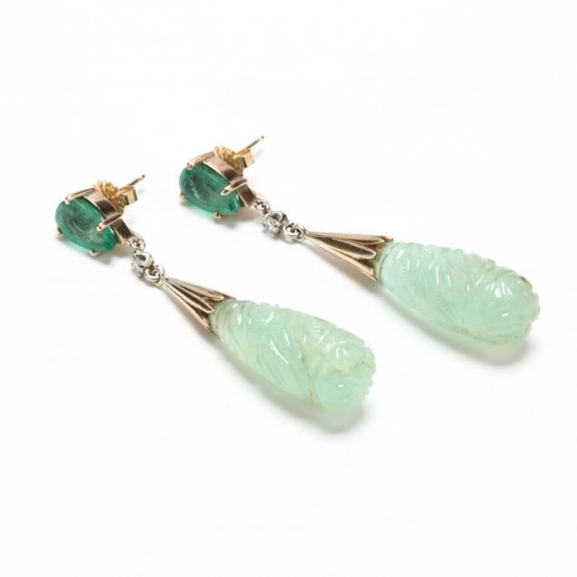 14kt-emerald-and-diamond-ear-pendants