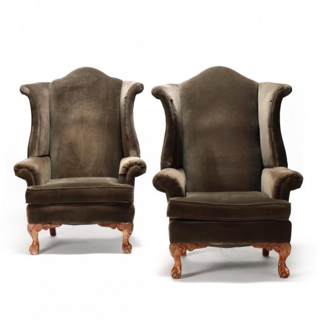 schnadig-pair-of-chippendale-style-wing-back-chairs