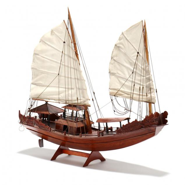 carved-wood-model-of-a-chinese-junk