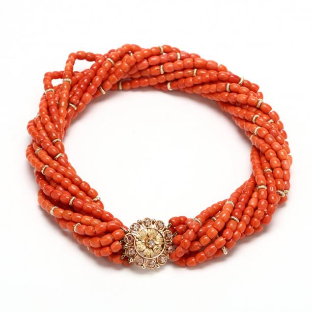 14kt-gold-coral-and-diamond-torsade-necklace