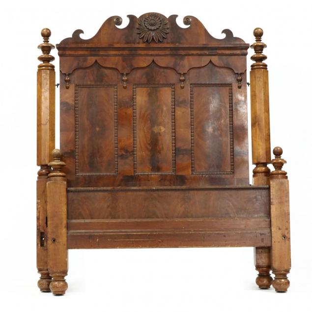 antique-relief-carved-mahogany-bed
