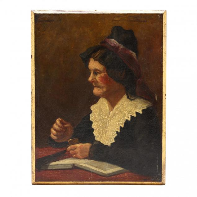 antique-american-school-portrait-of-a-seated-woman