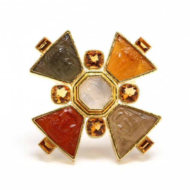 19kt-gold-and-venetian-glass-bomarzo-pendant-brooch-elizabeth-locke