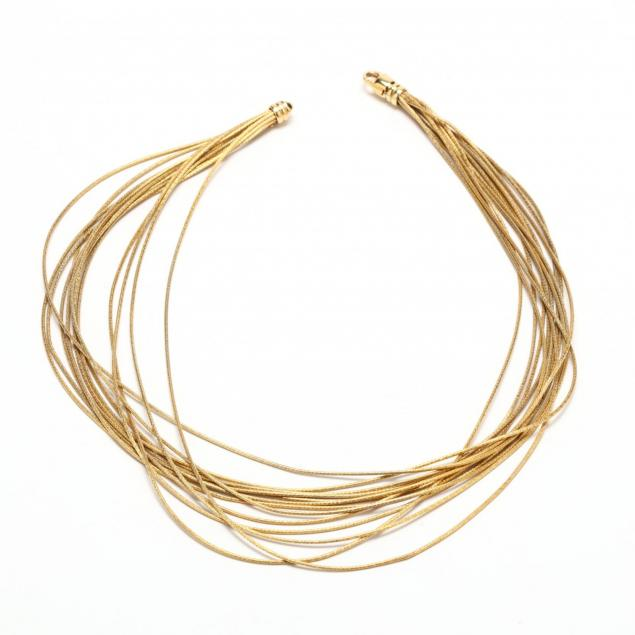 18kt-gold-multi-strand-necklace-italy