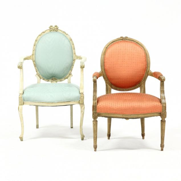 two-vintage-carved-and-painted-french-arm-chairs