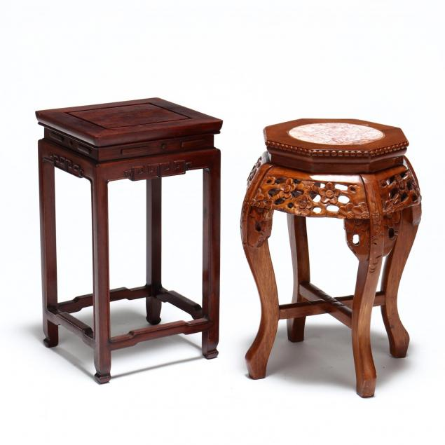 two-chinese-carved-wood-stands