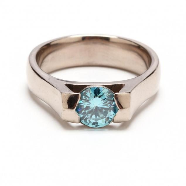 18kt-white-gold-and-fancy-blue-diamond-ring